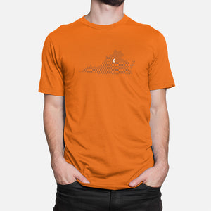 Charlottesville, Virginia Football Map T-Shirt, Orange