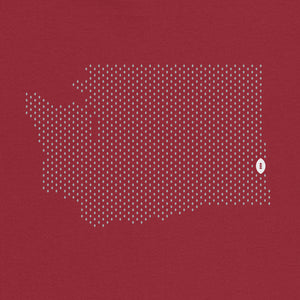 Pullman, Washington Football Map T-Shirt, Independence Red