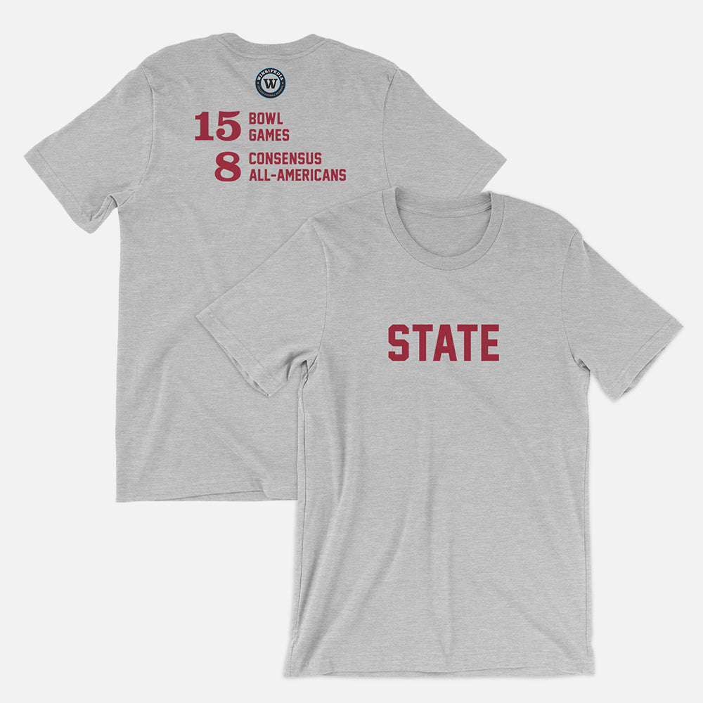 STATE Football Stats T-Shirt (Washington), Heather Gray
