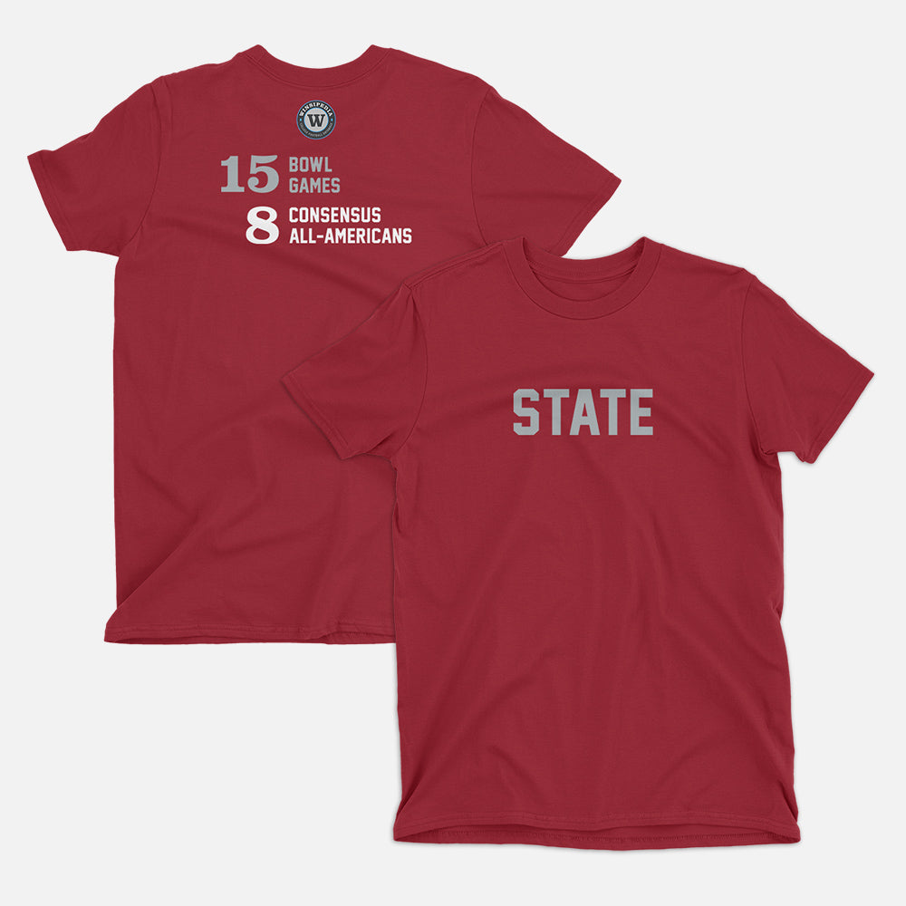 STATE Football Stats T-Shirt (Washington), Independence Red