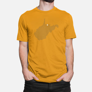 Morgantown, West Virginia Football Map Stats T-Shirt, Gold