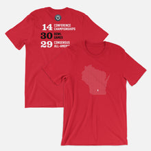 Load image into Gallery viewer, Madison, Wisconsin Football Map Stats T-Shirt