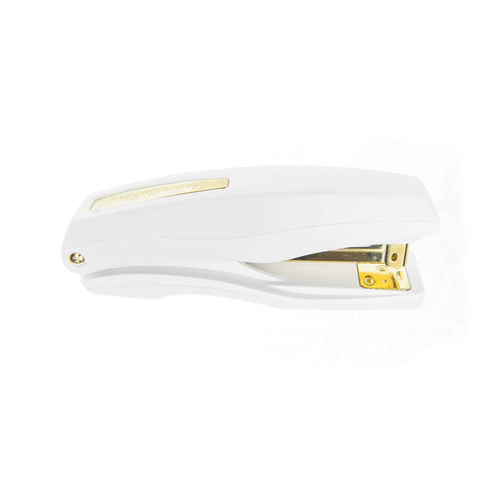 PraxxisPro Office Essentials - Basileus Full-Strip Ergonomic Grip Handheld Desktop Stapler - White Gold