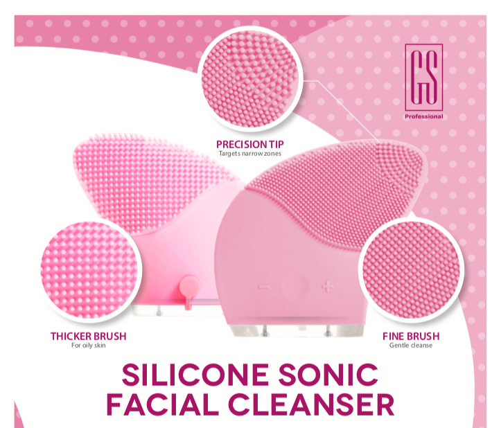 DEEP FACIAL CLEANSER ~ Silicone Sonic Pulsing Skin Exfoliating Tool in Pink