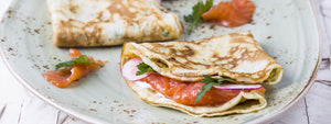 Smoked Salmon Crepes with Pesto and Capers
