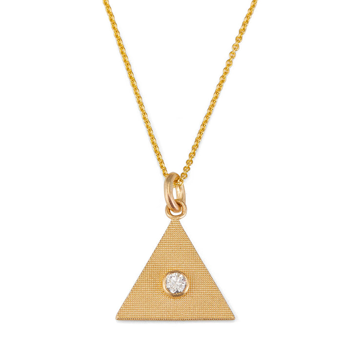 Sand Triangle Necklace with Diamond