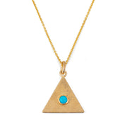 Sand Triangle Necklace with Turquoise