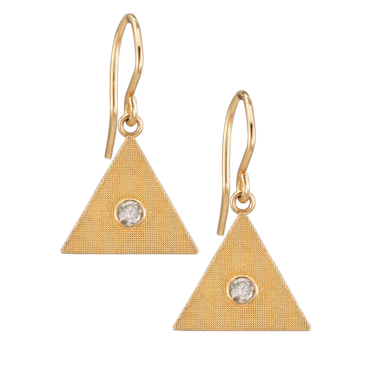 Sand Triangle Earrings with Diamond
