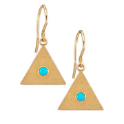 Sand Triangle Earrings with Turquoise