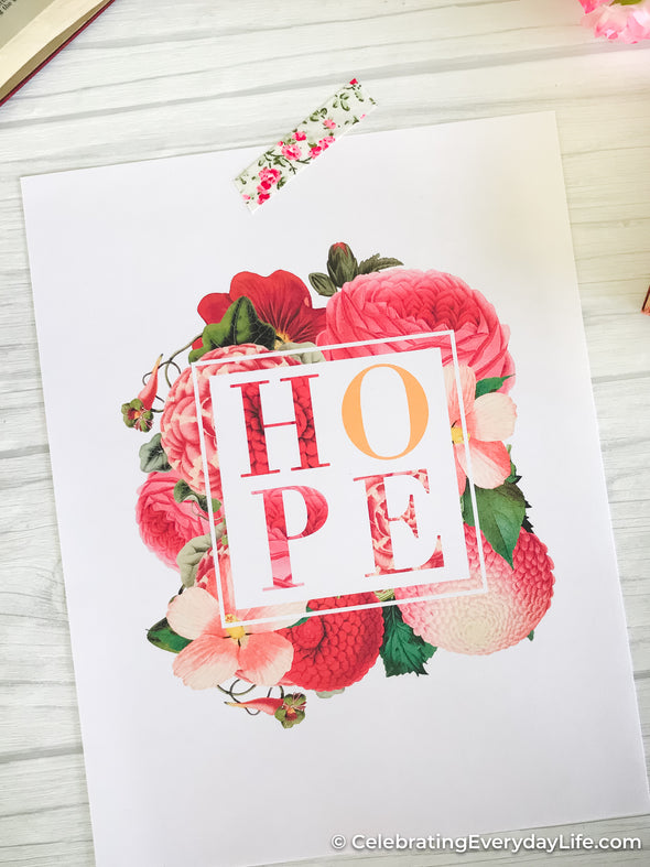 Hope October Breast Cancer Awareness Printable and PNG