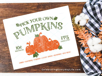 Pick Your Own Pumpkins Distressed PRINTABLE