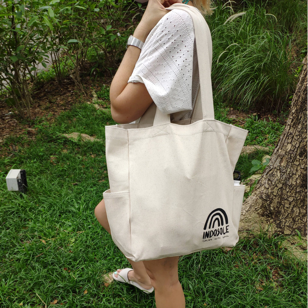 Indosole Large Canvas Tote Bag with Bottle Holders