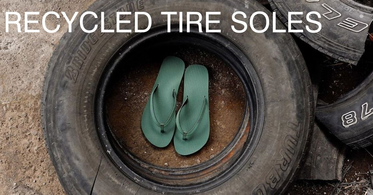 Indosole Leaf Green Flip Flops In The Middle Of A Tyre