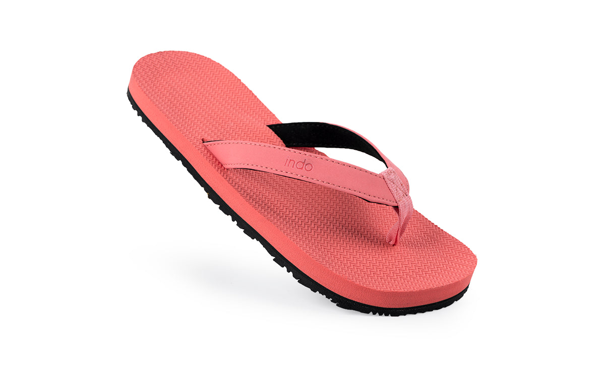 Grom's Flip Flops Coral - Lightweight, durable, waterproof, comfortable. Sustainably made vegan shoes using natural rubber and recycled tires