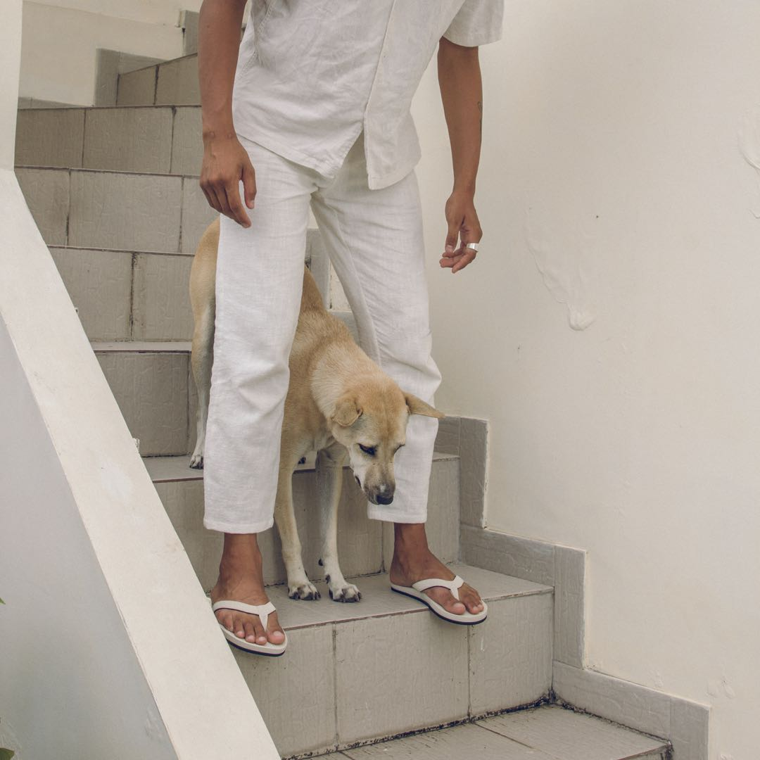 Man wearing sea salt flip flops, white shirt and pants standing on stairs with a dog between his legs