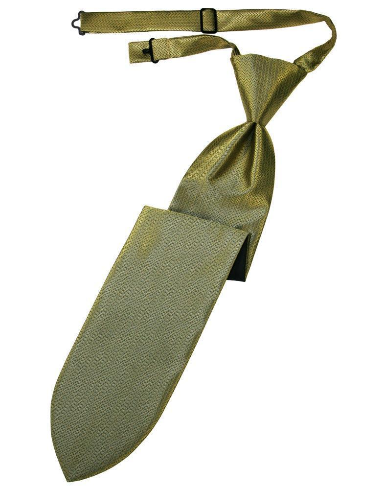 Gold Herringbone Kids Necktie