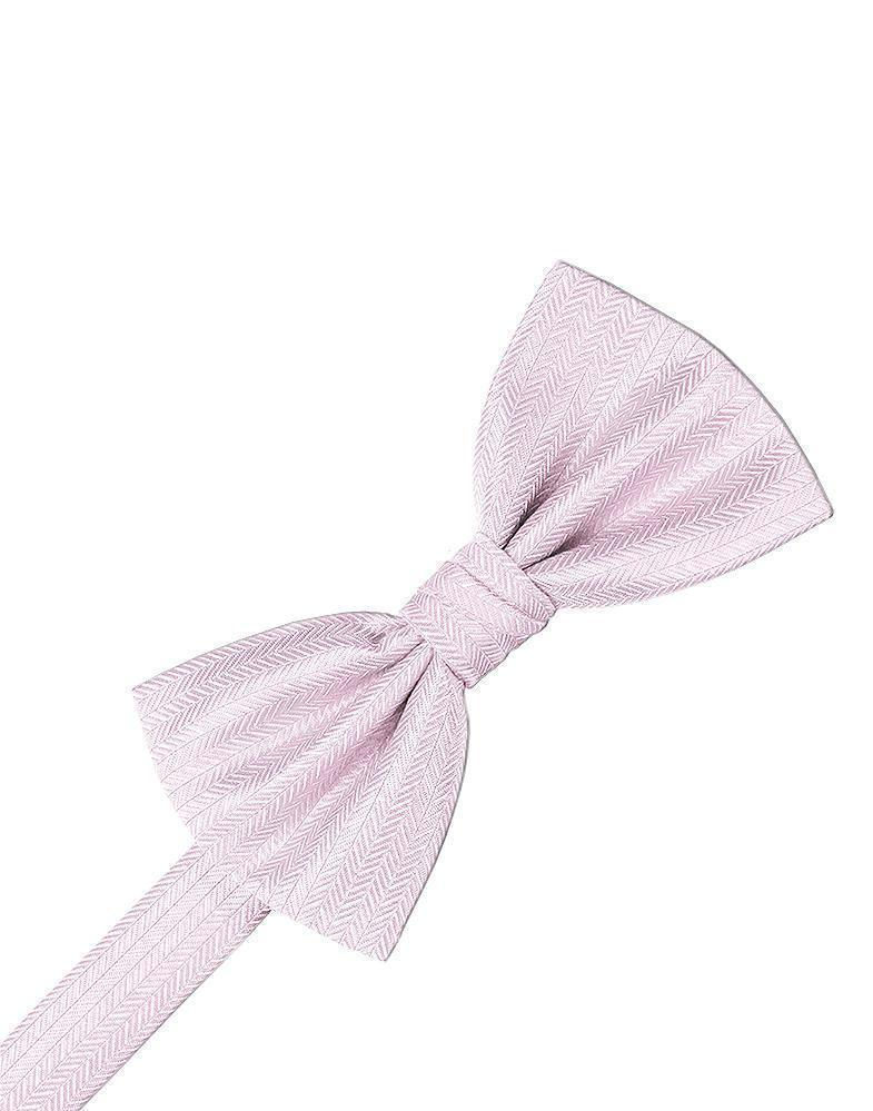 Pink Herringbone Kids Bow Tie