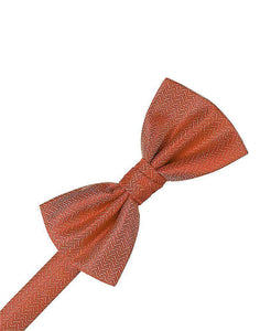 Persimmon Herringbone Kids Bow Tie