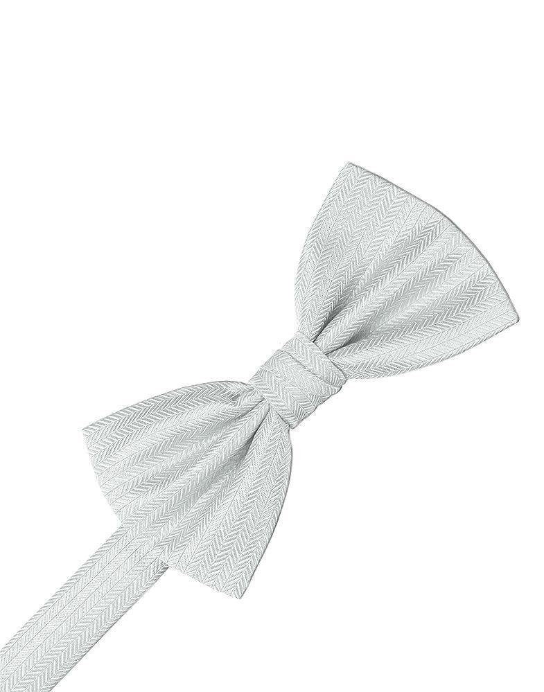 Platinum Herringbone Kids Bow Tie