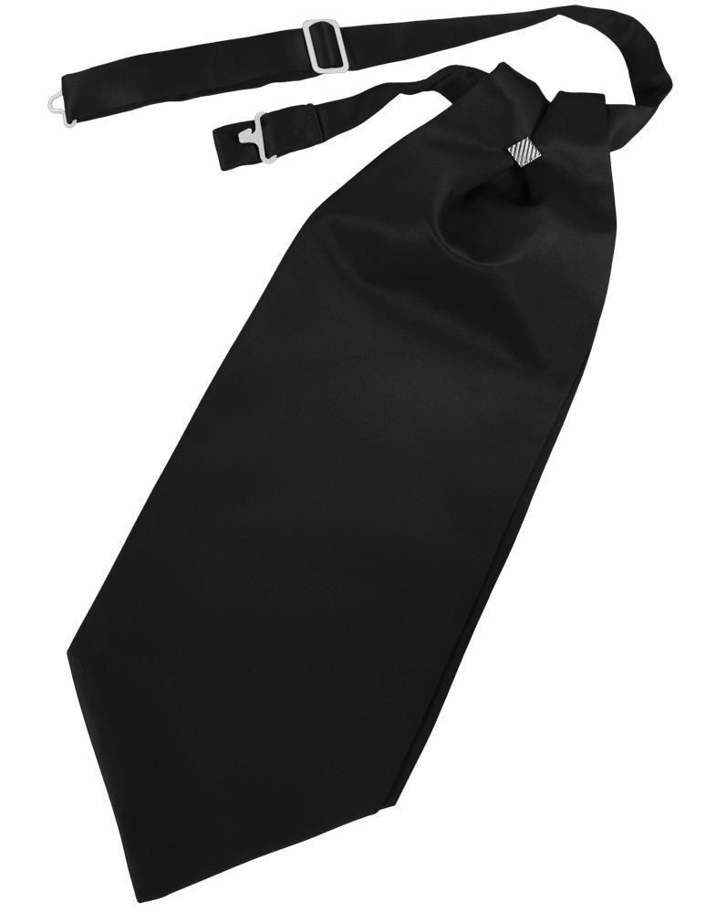 Black Solid Satin Kids Cravat