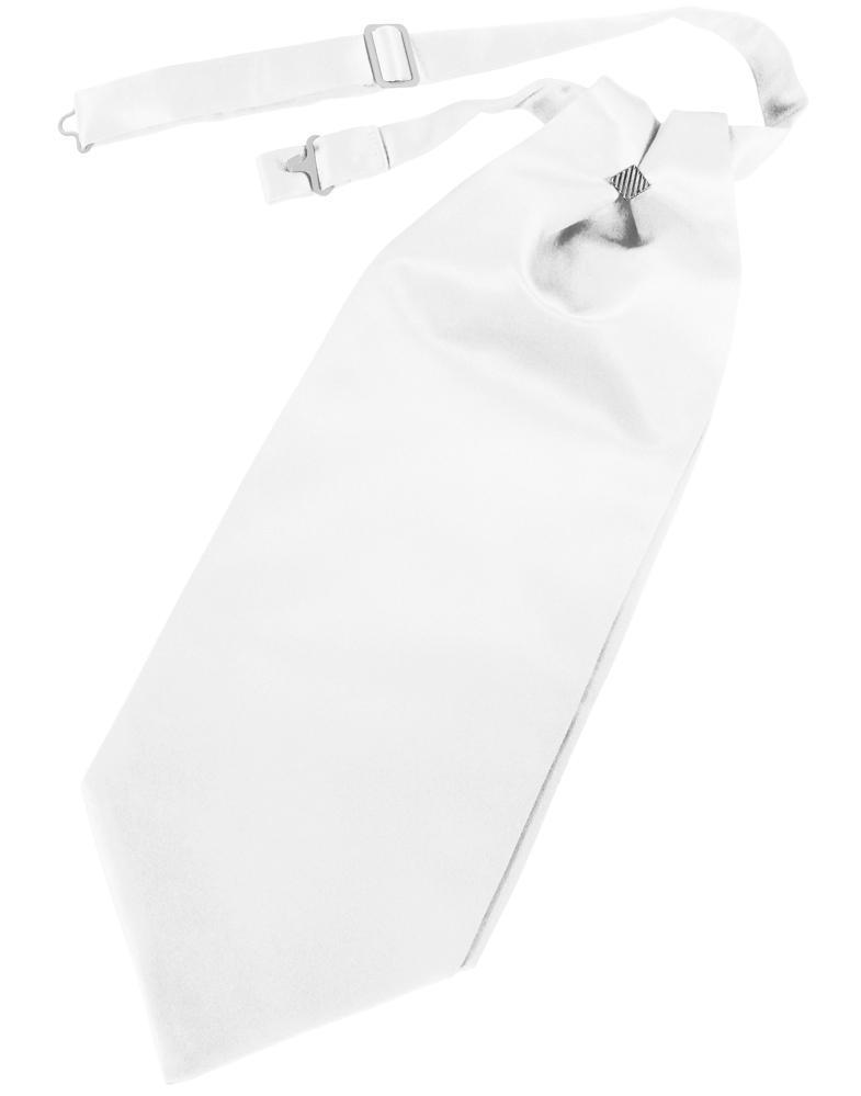 White Solid Satin Kids Cravat