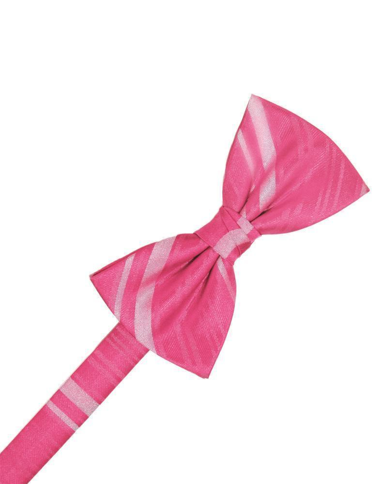 Bubblegum Striped Satin Bow Tie