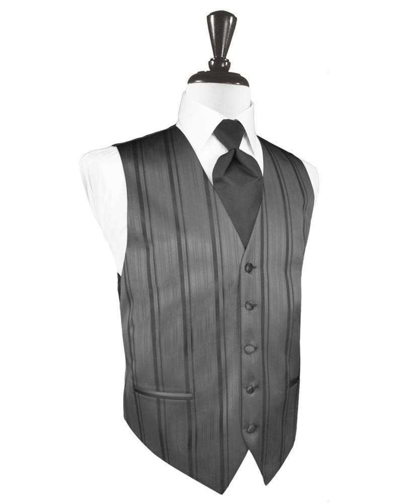 Charcoal Striped Satin Tuxedo Vest