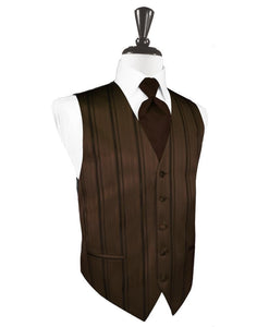 Chocolate Striped Satin Tuxedo Vest