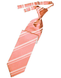 Coral Reef Striped Satin Kids Necktie