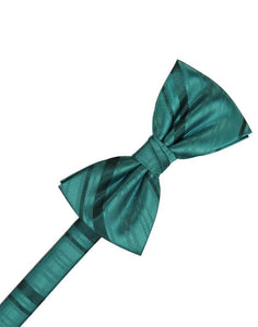 Jade Striped Satin Bow Tie