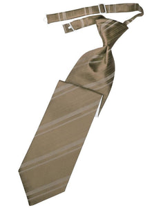 Latte Striped Satin Kids Necktie
