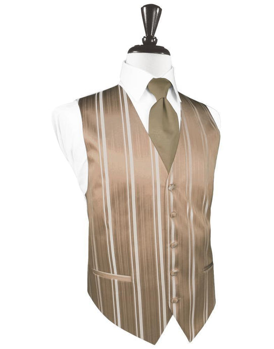 Latte Striped Satin Tuxedo Vest