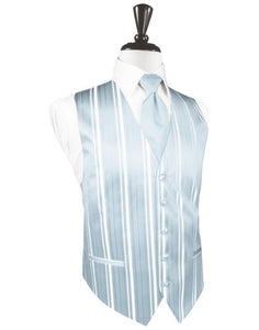 Light Blue Striped Satin Tuxedo Vest
