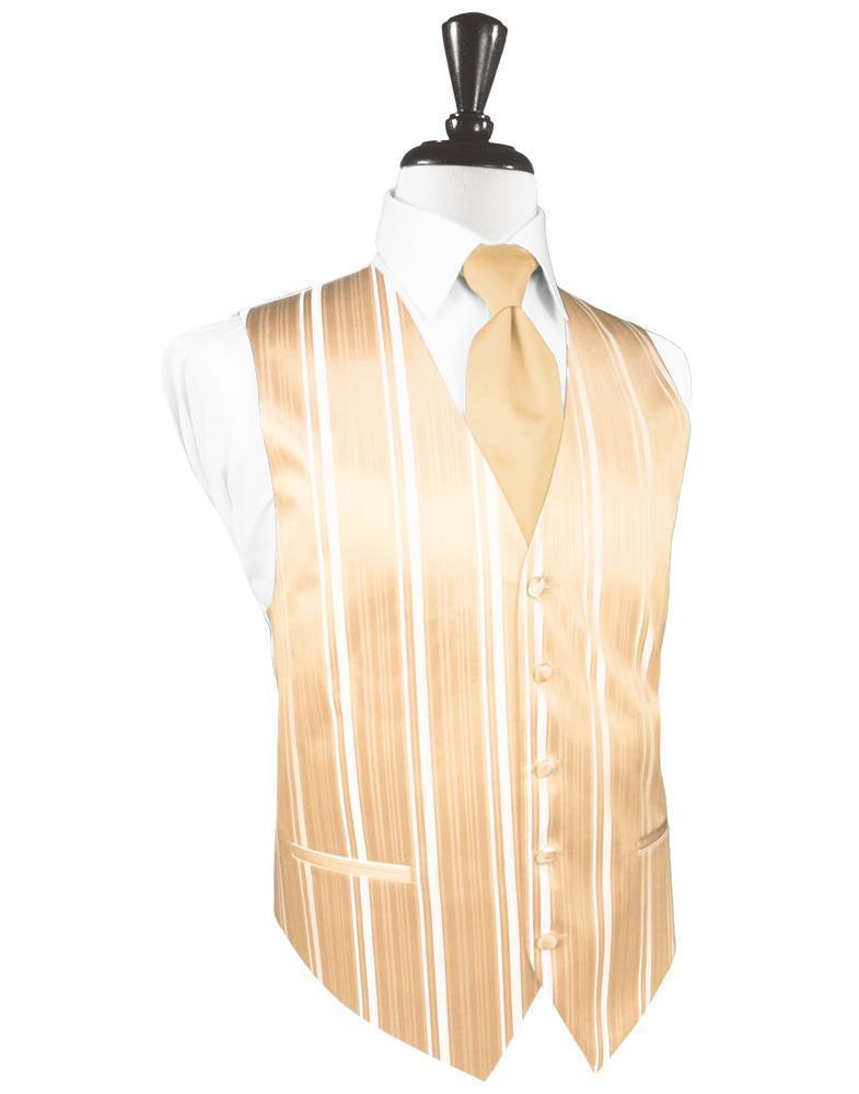 Peach Striped Satin Tuxedo Vest