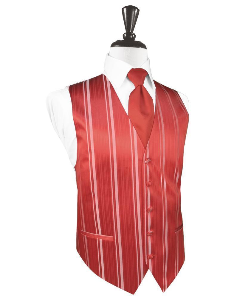 Persimmon Striped Satin Tuxedo Vest