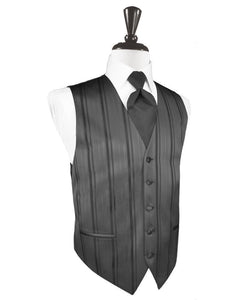 Pewter Striped Satin Tuxedo Vest