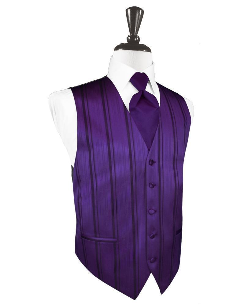 Purple Striped Satin Tuxedo Vest