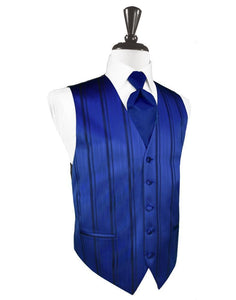 Royal Blue Striped Satin Tuxedo Vest