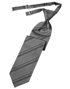 Silver Striped Satin Kids Necktie