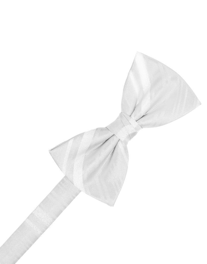 White Striped Satin Kids Bow Tie