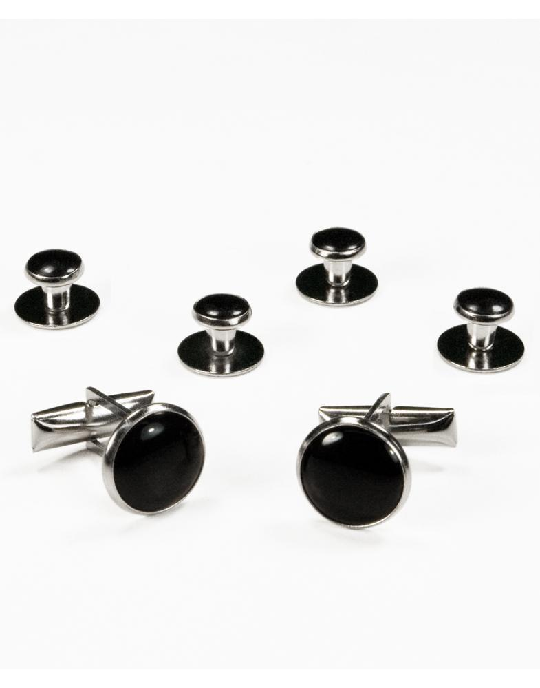 Basic Black with Silver Trim Studs and Cufflinks Set