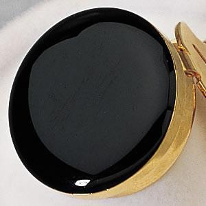 Black Enamel with Gold Trim Button Cover