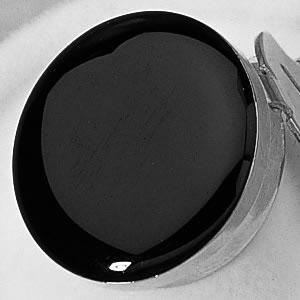 Black Enamel with Silver Trim Button Cover