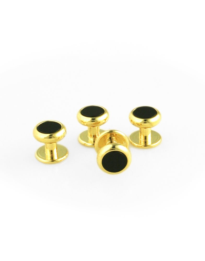 Black Onyx Inset with Gold Setting Studs Set