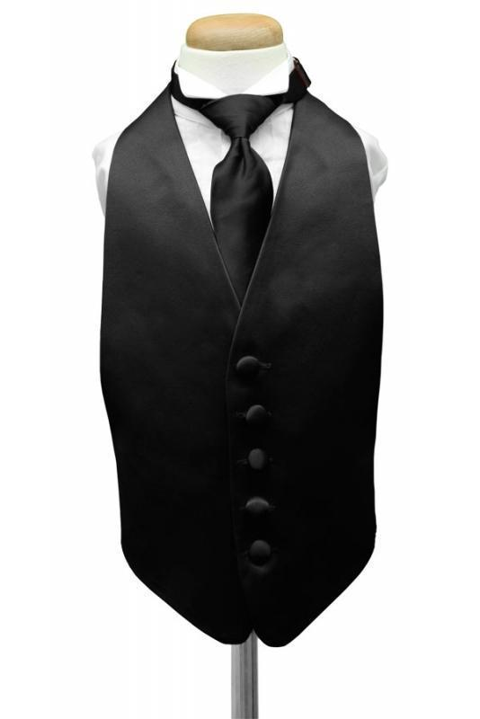 Black Luxury Satin Kids Tuxedo Vest