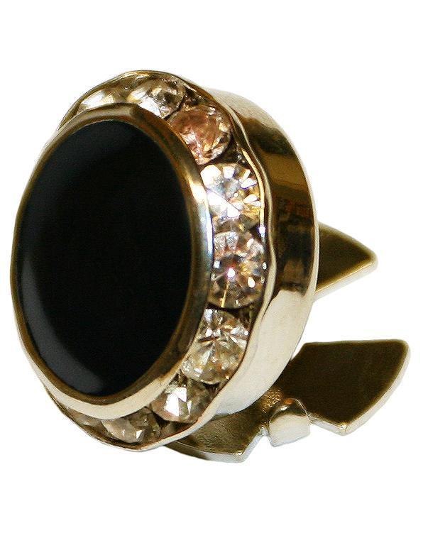 Black Enamel & Rhinestones with Gold Trim Button Cover
