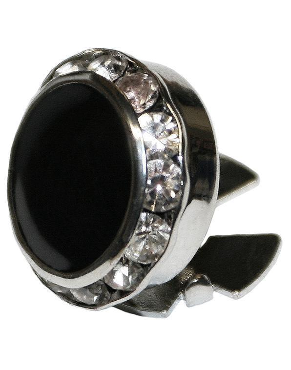 Black Enamel & Rhinestones with Silver Trim Button Cover