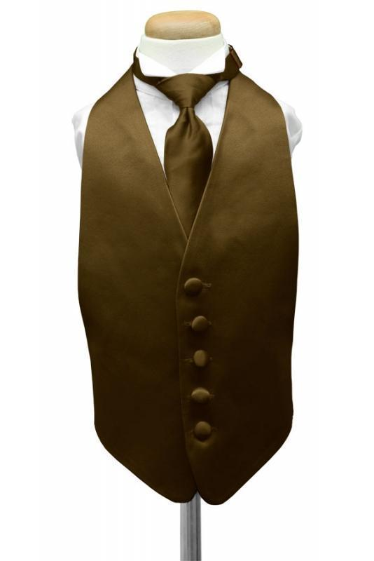 Chocolate Luxury Satin Kids Tuxedo Vest