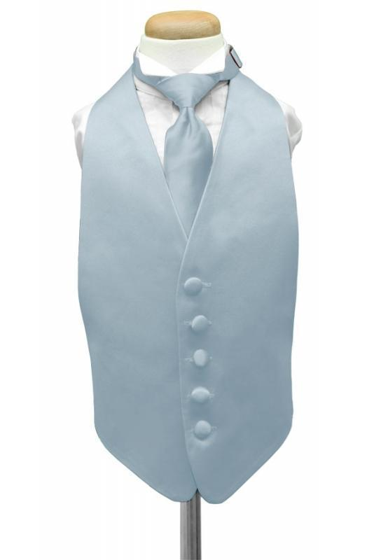 Light Blue Luxury Satin Kids Tuxedo Vest