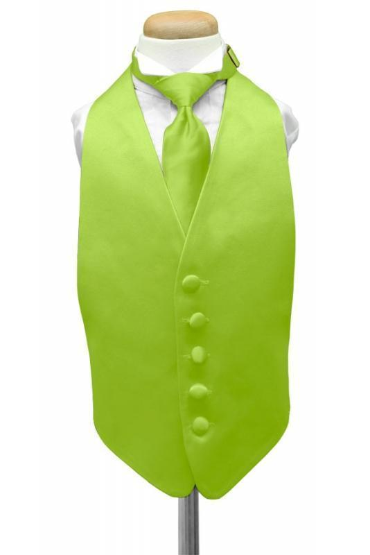Lime Luxury Satin Kids Tuxedo Vest